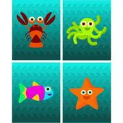 Rocket Bug 4 Piece Ocean Creatures Paper Print Set