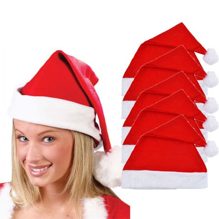 DZT1968 5x Adult Unisex Adult Xmas Red Cap Santa Novelty Hat for Christmas Party