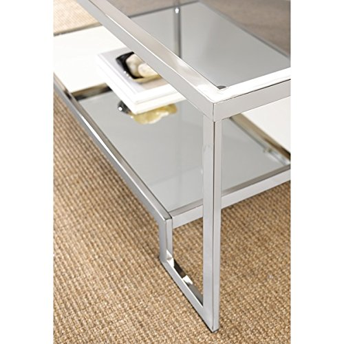 Mirrored Modern Design Cordele Chrome and Glass Coffee Table