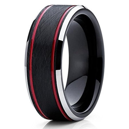 8mm Tungsten Wedding Band Red & Black Tungsten Ring Tungsten Carbide Ring Brushed Olivit Comfort Fit Men & Women](Red Wedding Ring)