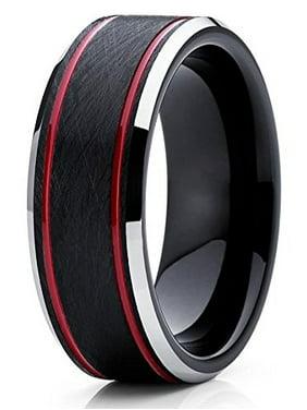 8mm Tungsten Wedding Band Red & Black Tungsten Ring Tungsten Carbide Ring Brushed Olivit Comfort Fit Men & Women