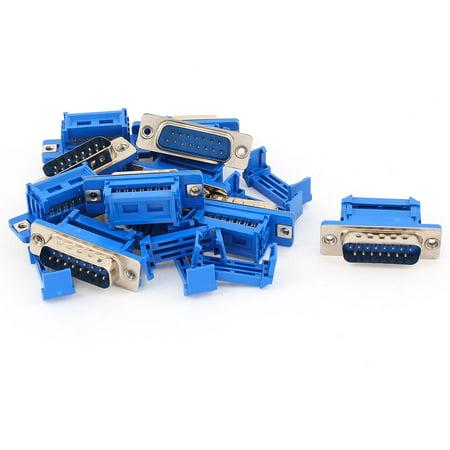 Unique Bargains 10pcs D-SUB DB15 15 Pin Male IDC Type Crimp Threaded Connector for Flat Cable