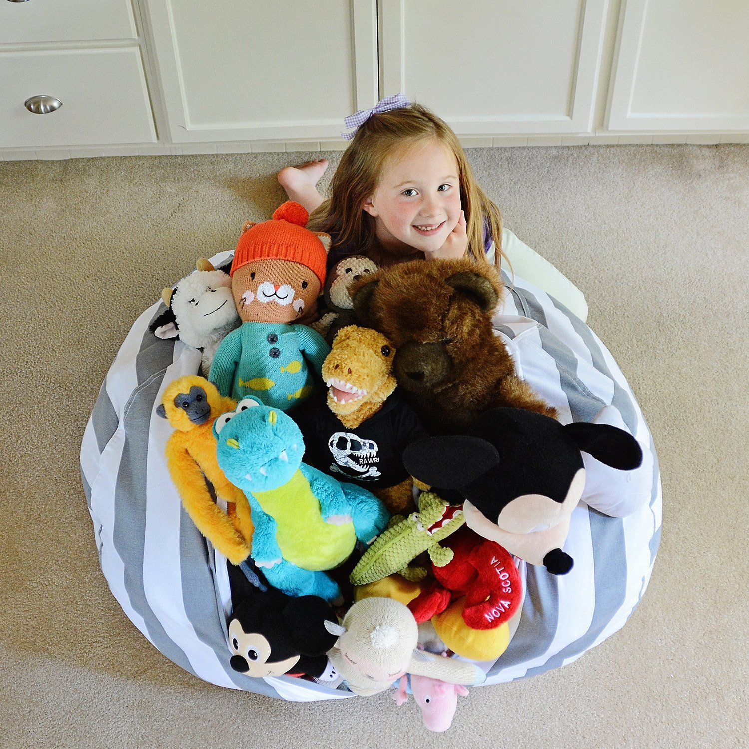 EXTRA LARGE - Stuffed Animal Storage Bean Bag Chair - Premium Cotton Canvas - Clean up the Room and Put Those Critters to Work for You! & EXTRA LARGE - Stuffed Animal Storage Bean Bag Chair - Premium Cotton ...