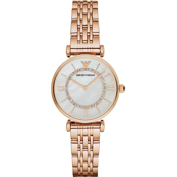 Emporio Armani Women's Retro Mother of Pearl Rose Gold Watch AR1909