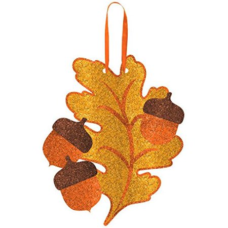 Amscan Welcome Fall Thanksgiving Party Glitter Oak Leaf Hanging Decoration, Multicolor, 11 12