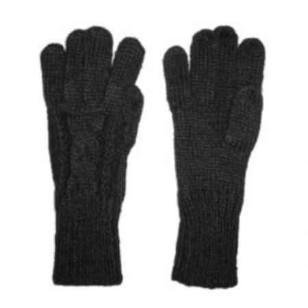 Fownes Womens Soft   Sleek Black Cable Knit Gloves