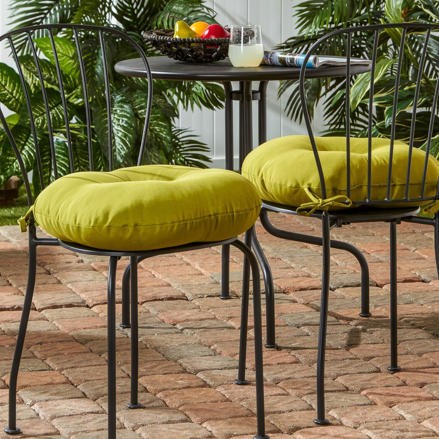 Greendale Home Fashions 18 Inch Round Outdoor Kiwi Bistro Chair Cushion  (Set Of 2