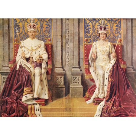 The King and Queen Enthroned and Crowned May 12 1937  George VI Albert Frederick Arthur George 1895 to 1952  King of the United Kingdom  Elizabeth Angela Marguerite - King And Queen Crown