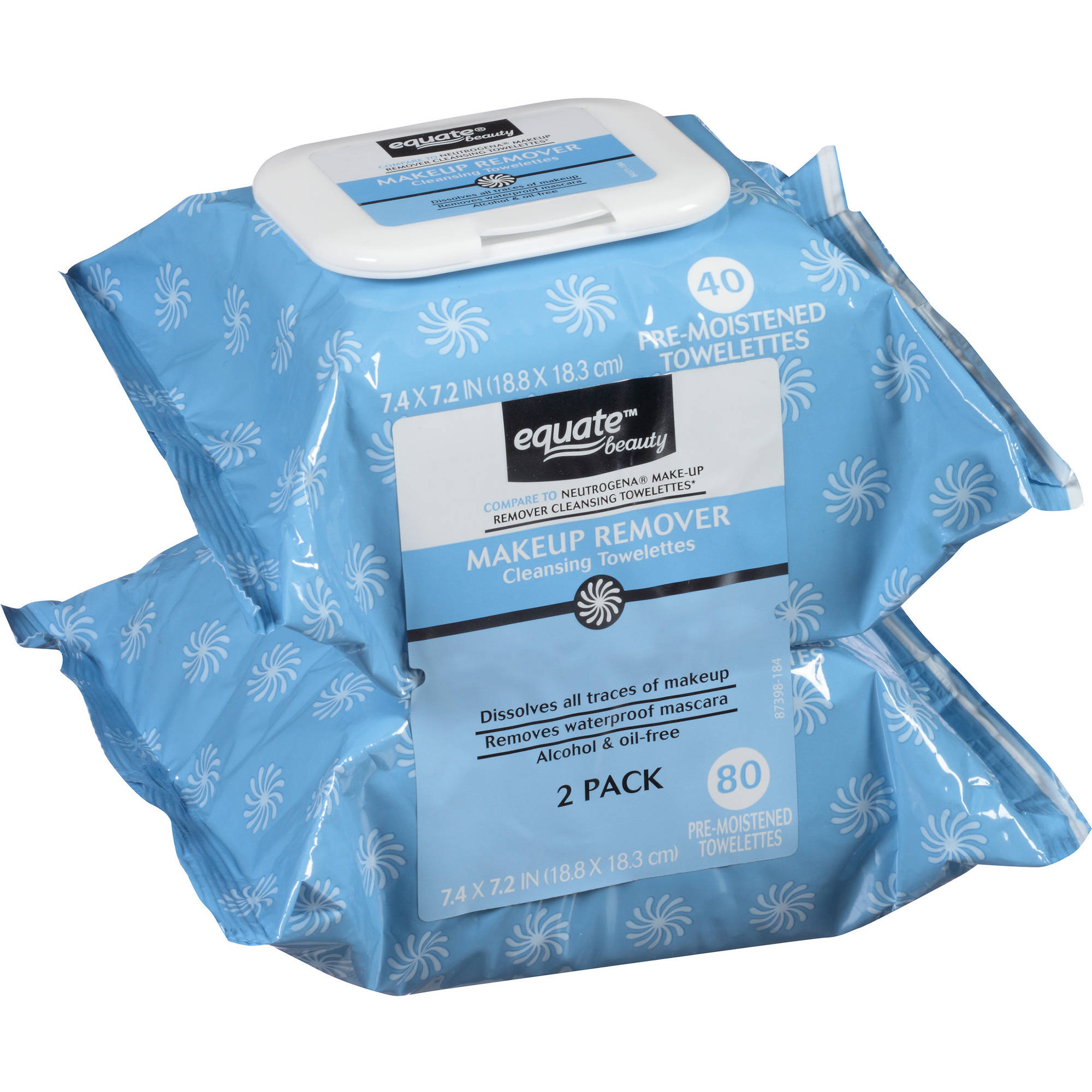 Equate Beauty Makeup Remover Cleansing Towelettes, 40 sheets, (Pack of 2)