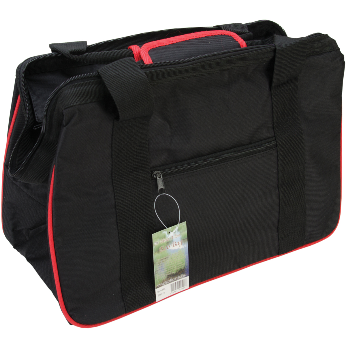 "JanetBasket Black/Red Eco Bag, 18"" x 10"" x 12"""