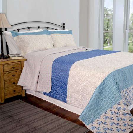 3 Pc Queen/Full Size Reversible Quilt Set: Blue and Taupe Floral Design,  One Quilt and Two Shams