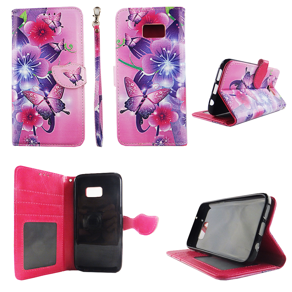 Butterfly Flower Pink Wallet Folio Case for Samsung Galaxy S7 Fashion Flip PU Leather Cover Card Cash Slots & Stand