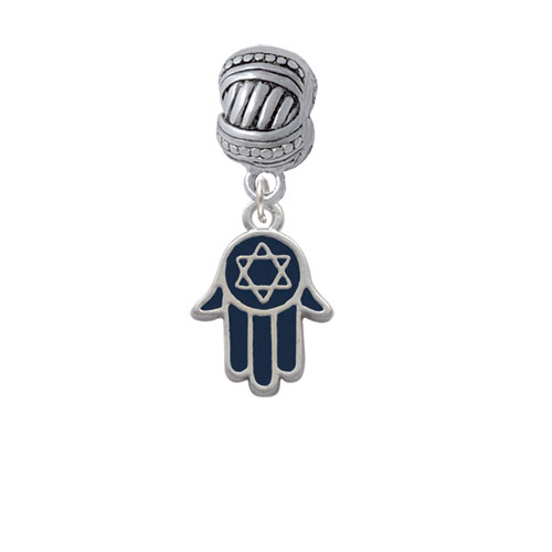 Blue Hamsa Hand with Star of David - Large Rope with Cross Beads Charm Bead
