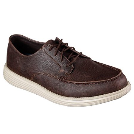 - Skecher Men's Relaxed Fit: Status - Lerado Moc Toe Oxford Shoes (13, Chocolate)