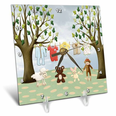 (3dRose Clothline of Baby Clothes on Two Trees with Lamb, Bear, Bunny, Monkey, Desk Clock, 6 by 6-inch)