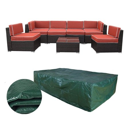 ORNO TTOBE 126 x63 x28 inch Extra Large Patio Furniture Cover for 7pieces Rattan Wicker Furniture Sofa set, Waterproof ()