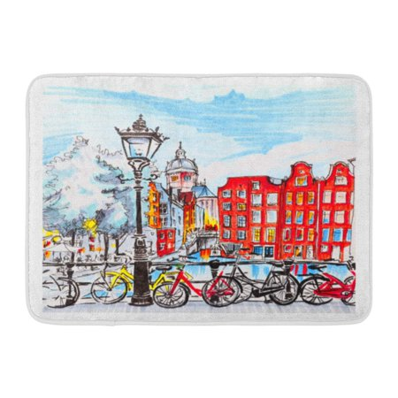 LADDKE Red Hand Color City View of Amsterdam Typical Houses Holland Netherlands Made Markers Bike Doormat Floor Rug Bath Mat 23.6x15.7