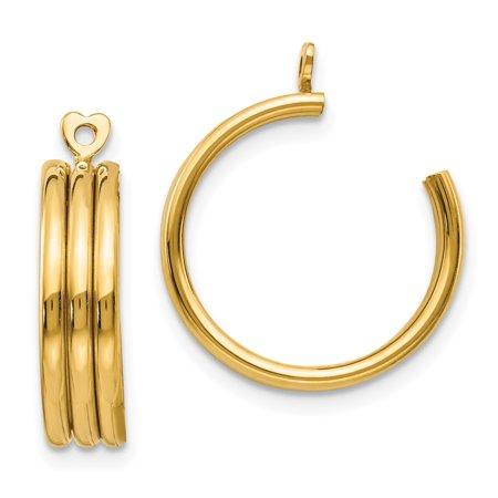 14kt Yellow Gold Triple Hoop Earrings Ear Hoops Set Jacket Jackets Studs Fine Jewelry Ideal Gifts For Women Gift Set From Heart (Gold Tone Triple Strand)