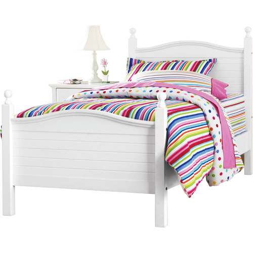 Kylie Collection Twin Poster Bed, White