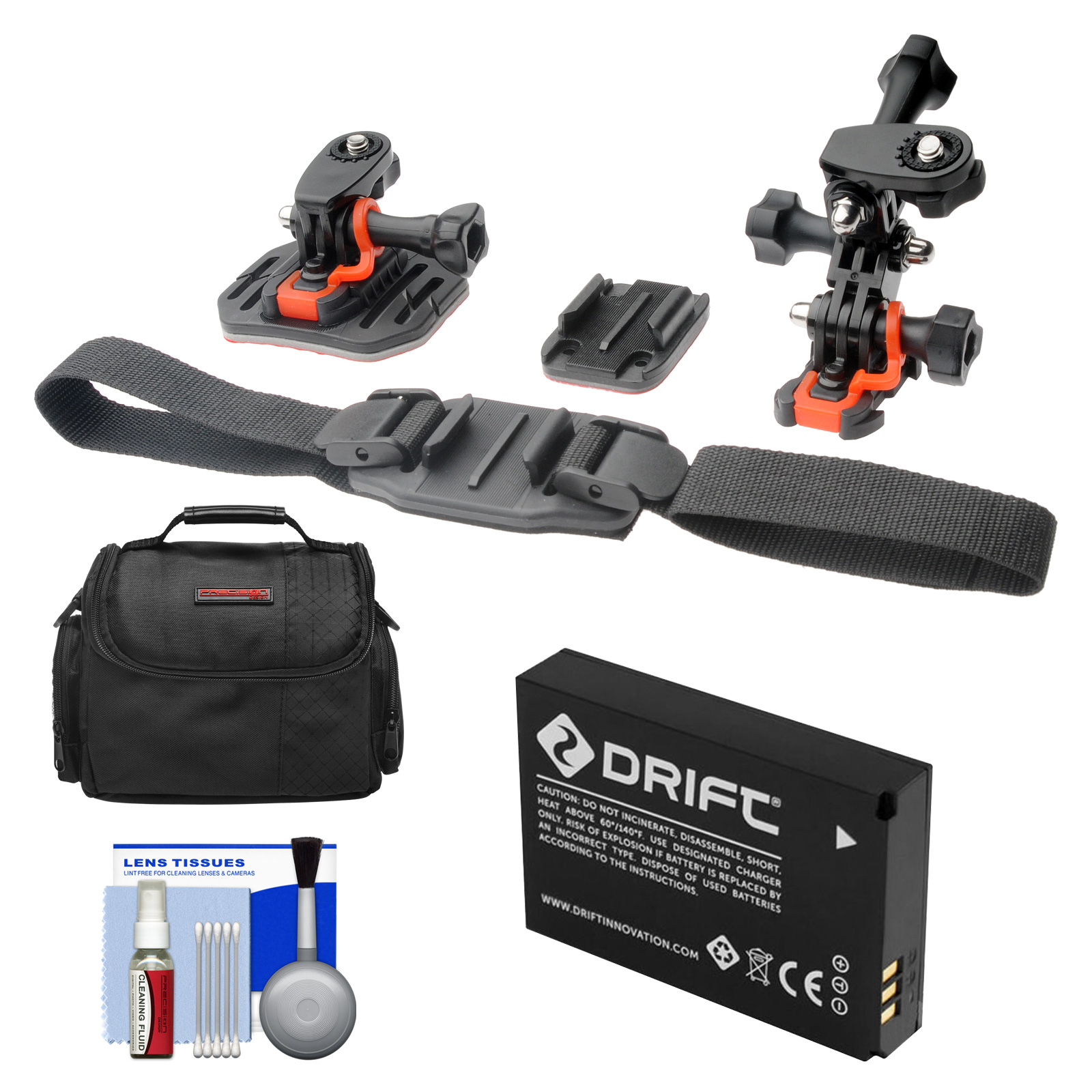 Essentials Bundle for Drift HD Ghost & Ghost-S Action Camcorder with Helmet & Flat Surface Mounts + Battery + Case + Accessory Kit