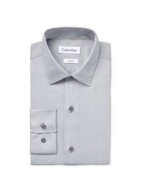Calvin Klein Boys Sateen Button Up Dress Shirt litgrey L - Big Kids (8-20)