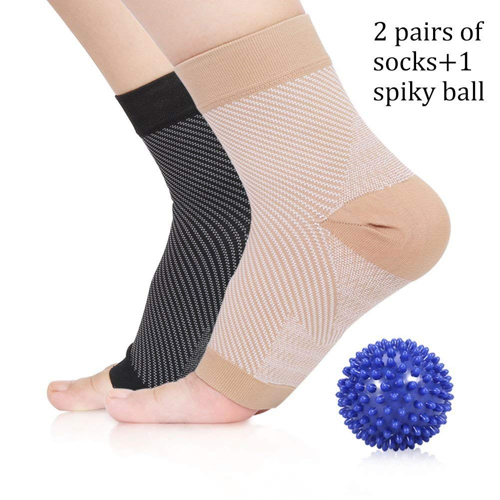 2 Pairs of Plantar Fasciitis Socks and Massage Spiky Ball Kit, Compression Foot Sleeve and Arch Support for Anke Swelling, Heel Spurs, Achilles Tendonitis, Heel pain Relief for Women and Men