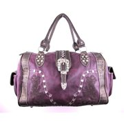 Accessories Plus AZ-111 PL Duffle Bag with Embroidery, Purple