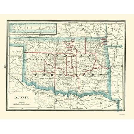 State Map Oklahoma.Old State Map Oklahoma Indian Territory Rathbun 1893 23 X