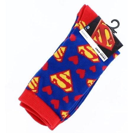 Red & White Hearts Junior Crew Socks - Super Man Socks