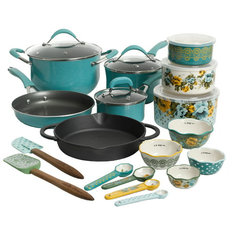 The Pioneer Woman Frontier Speckle Turquoise 24-Piece Cookware Combo (5 Piece Roaster Set)