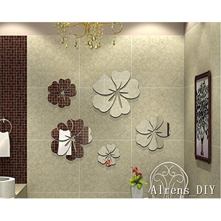 Crystal Wall Decorations - Alrens_DIY(TM)25pcs=5 Flowers Unique Gifts Crystal Reflective DIY Mirror Effect 3D Wall Stickers Home Decoration Bathroom Decor