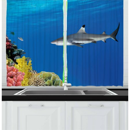 Shark Curtains 2 Panels Set, Tropical Underwater World with Fishes Swimming and Coral Reef Serene Wildlife Picture, Window Drapes for Living Room Bedroom, 55W X 39L Inches, Multicolor, by Ambesonne