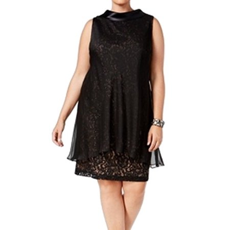 SLNY NEW Black  Women's Size 22W Plus Overlay Sequin Lace Sheath Dress