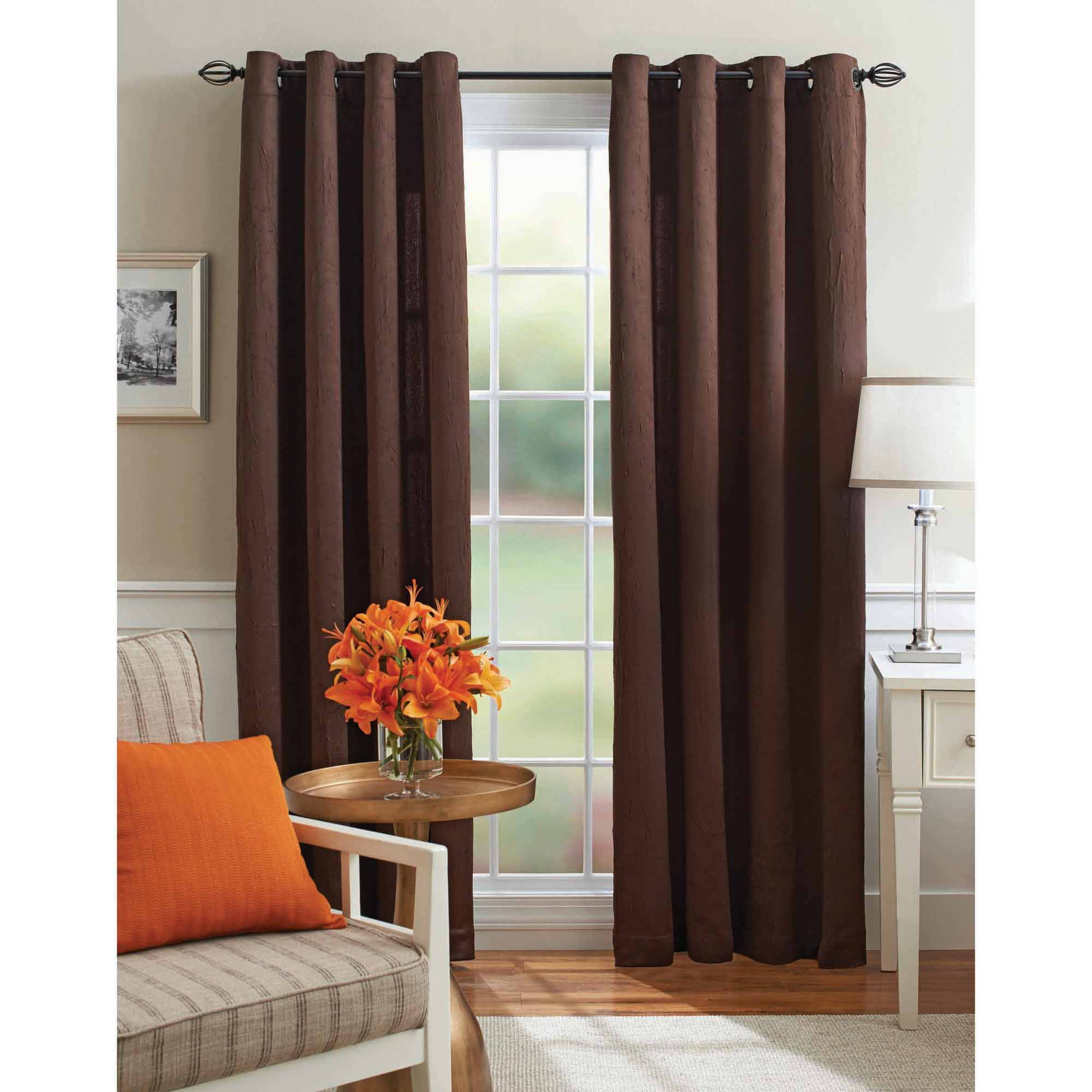 Better Homes and Gardens Embroidered Sheer Curtain Panel Walmart