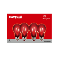 Energetic LED Color Filament Light Bulbs, 2W, Red, A19 Shape, E26 Base, UL Listed, 4-count