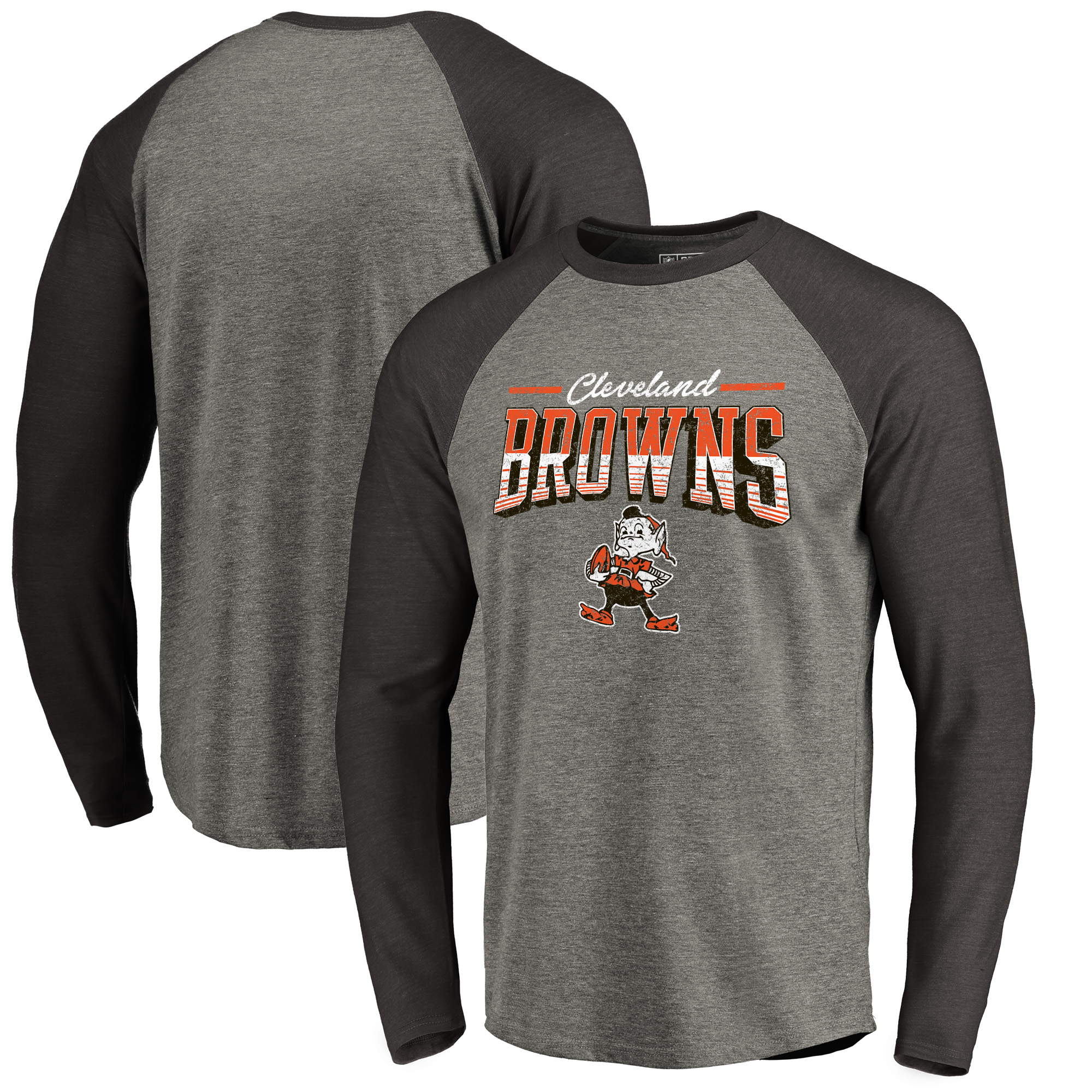Cleveland Browns NFL Pro Line by Fanatics Branded Throwback Collection Season Ticket Big & Tall Long Sleeve Tri-Blend Raglan T-Shirt - Heathered Gray/Black