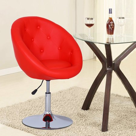 red egg shape cushioned leatherette adjustable barstool office chair