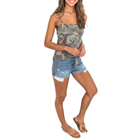 Women Camouflage Strappy Button Tank Tops Vest Ladies Summer Sleeveless Shirt ()