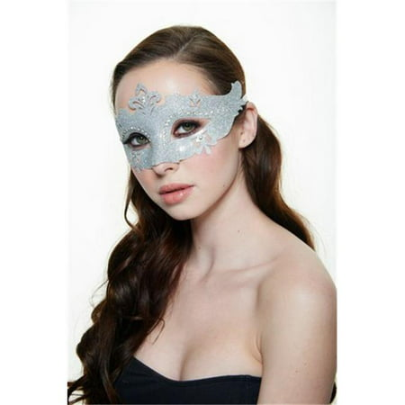 Silver Plastic Masquerade Mask with Glitter & Clear Rhinestones - White Masquerade Masks For Men