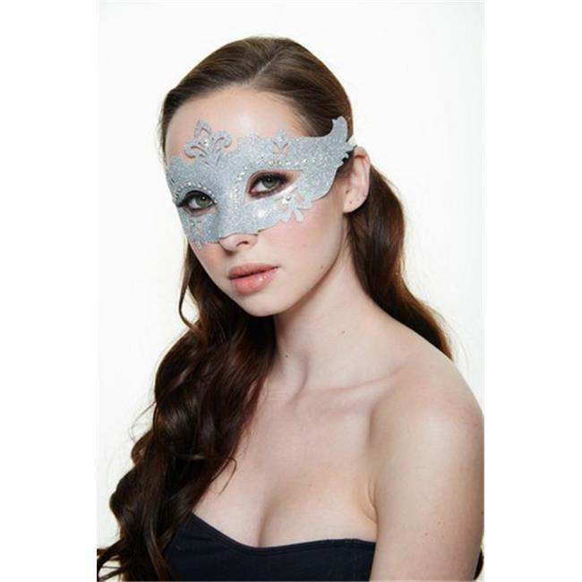 Silver Plastic Masquerade Mask with Glitter & Clear Rhinestones