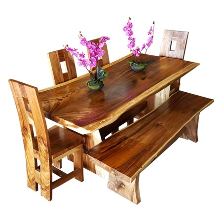 Pleasing Chic Teak Suar Wood Live Edge Backless Indoor Outdoor Bench Evergreenethics Interior Chair Design Evergreenethicsorg