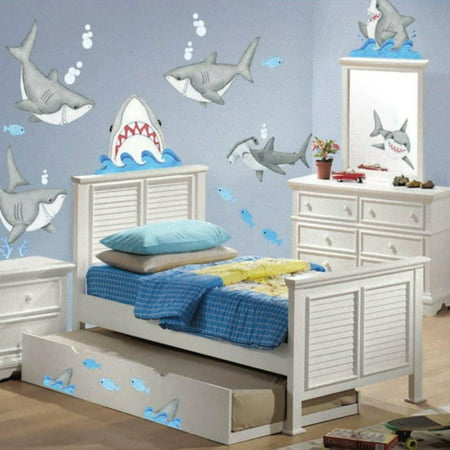 Fish'n Sharks Stickers Wall Decals Children Bedroom Decor Peek-a-Boo Sharks, Shark and Fish Decals - Perfect Nautical Decor Kids Room By Borders (Summer Kids Borders)