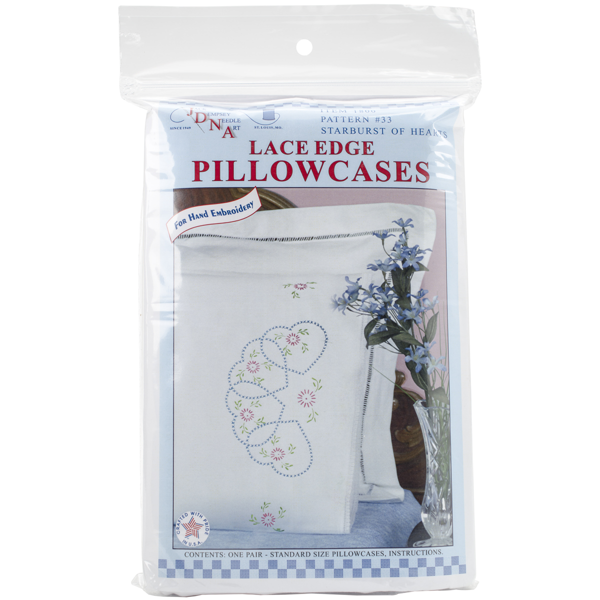 Stamped Pillowcases W/White Lace Edge 2/Pkg-Starburst Of Hearts