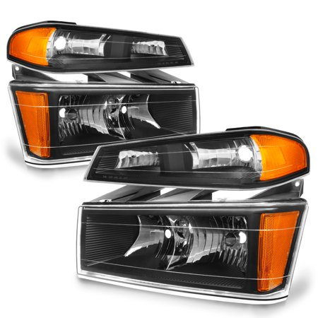 Cancun Light - Fit 04-12 Colorado Canyon Black Headlights + Bumper Signal Lights Replacement