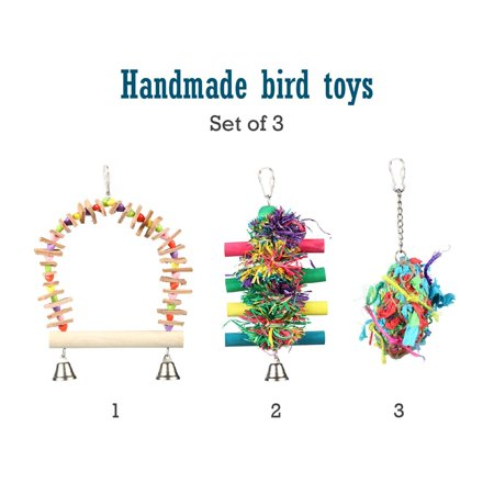 Bird Toy Hook (Set of Three Colorful Bird Toys | Best Bird Toys For)