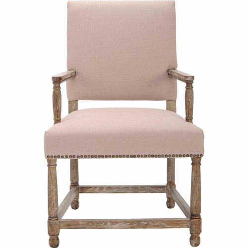 Safavieh Faxon Arm Chair, Taupe with Brass Nail Heads
