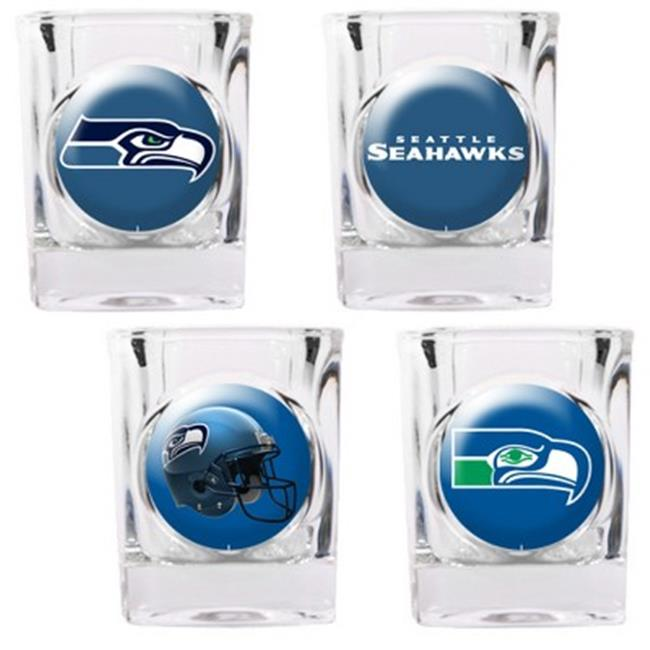 Great American Products 41110 4pc Collectors Shot Glass Set- Seattle Seahawks
