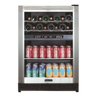 """Magic Chef 24"""" 16 Bottle and 77 Can Capacity Built-In or Free-Standing Wine and Beverage Cooler"""