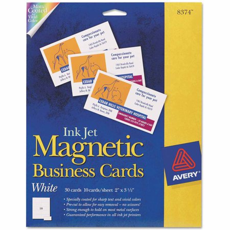 Avery magnetic business cards 2 x 3 1 2 white 10 sheet for Walmart business card printing