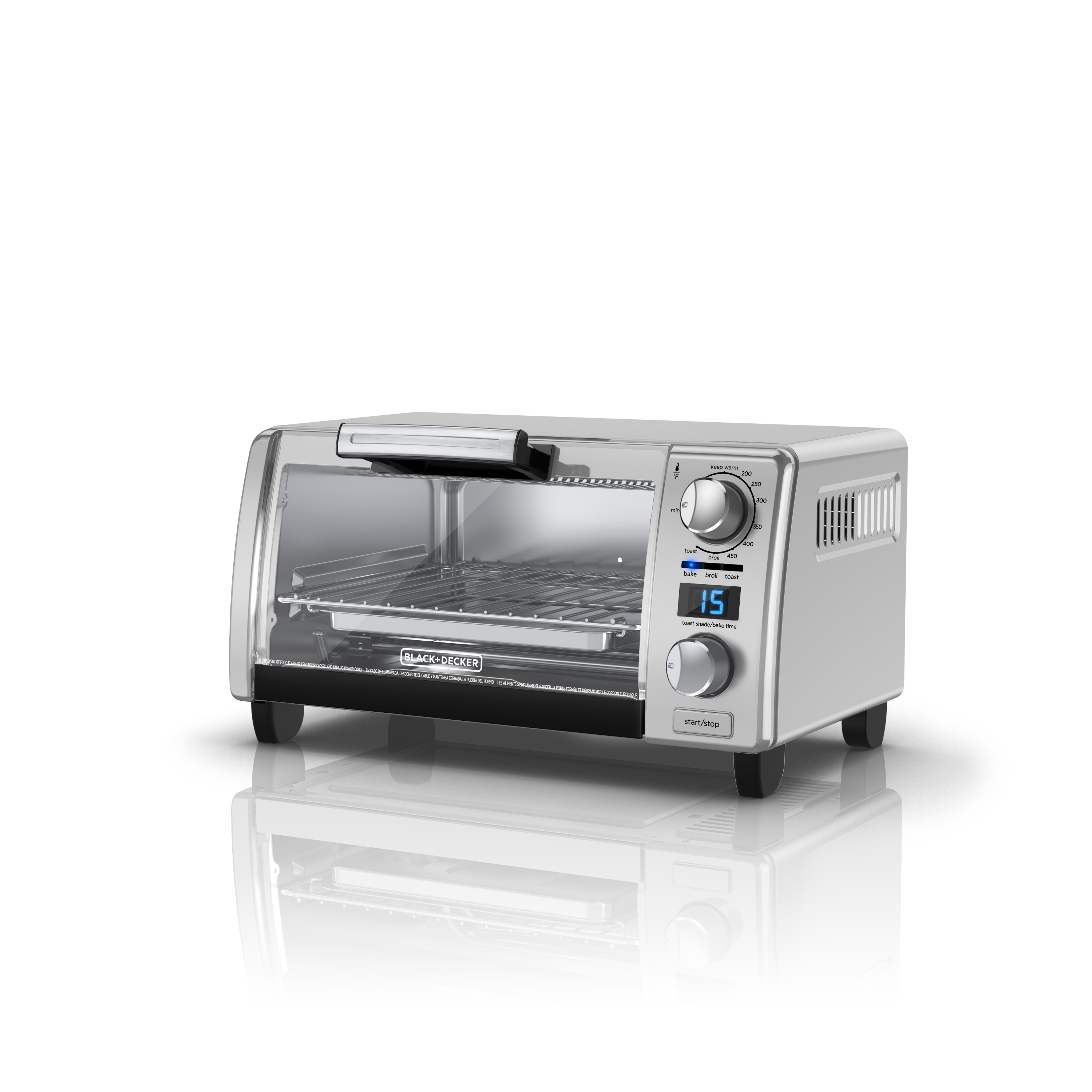Black & Decker 4-Slice Natural Convection Digital Toaster Oven, Silver, TOD1770G by BLACK DECKER